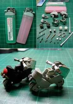 recycle cheap empty lighters and make into mini motorcycles