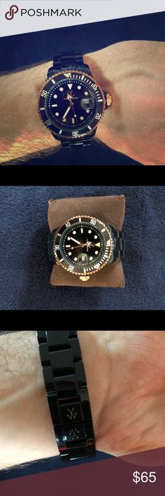 Authentic Toywatch- Unisex NEEDS BATTERY Excellent condition! Black and copper/gold plasteramic Toywatch. Will ship with MK box. Already adjusted to fit small mans wrist( do not have additional links) Needs Battery ToyWatch Accessories Watches