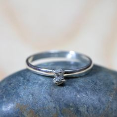 Raw diamond stacking ring sterling silver ring by GardensOfTheSun