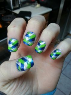 My nails for the 12-8-13 Seahawk game! GO HAWKS!!!  Lost