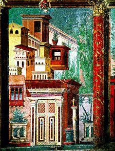 The painted mask at the top of this fresco from Pompeii is apotropaic. Ancient Pompeii, Pompeii And Herculaneum, Pompeii Italy, Roman History, Art History, Art Romain, Rome Antique, Roman Art, Greek Art