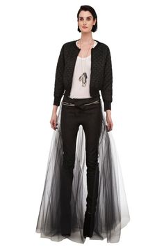 Norma Kamali , Tulle skirt over jeans and cropped jacket
