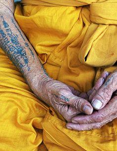 meditating monk, thailand.