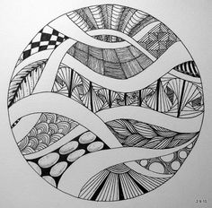 Jo in NZ in a circle - Art Sketches Doodle Art Drawing, Zentangle Drawings, Mandala Drawing, Zentangle Patterns, Art Drawings Sketches, Zentangles, Zentangle Art Ideas, Drawing Ideas, Art Illustrations