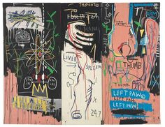 "Jean-Michel Basquiat's triptych in acrylic and oil stick on canvas, ""Cartharsis,"" 1983  http://goo.gl/By0o3"