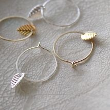 Two 2 sets Small Hoop Earrings with Tiny Dainty Leaf - Gold and Silver - Delicate Simple Modern Minimalist Jewelry - HAPPA by 5050 STUDIO fr...