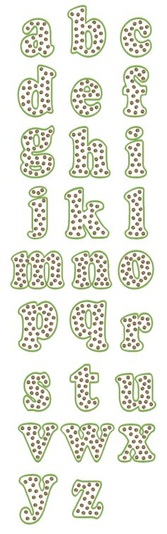 Girly Alphabet Fonts | ... Font Alphabet Lowercase Image - 332 POLKA DOT Embroidery Font Alphabet