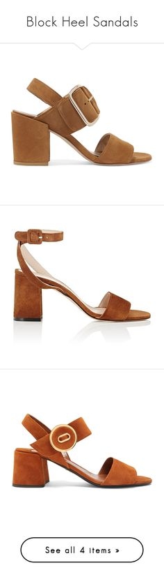 """""""Block Heel Sandals"""" by stylish-sparkles ❤ liked on Polyvore featuring shoes, sandals, camel, slingback shoes, block heel slingback sandals, suede sandals, camel sandals, stuart weitzman sandals, tan and block heel sandals"""