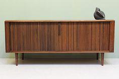 ebay:  Mid Century Modern Credenza 1960s Barzilay Walnut Low Buffet w Tambour Doors   eBay