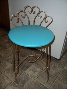 Vintage Retro Aqua Turquoise Vanity Chair Stool W/ Goldtone Metal Legs & Back | Sold by Town Consignment Boutique