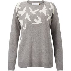 Collection WEEKEND by John Lewis Bird Intarsia Jumper, Grey (280 RON) ❤ liked on Polyvore featuring tops, sweaters, gray jumper, drop shoulder tops, intarsia sweater, round neck top and long sleeve sweater
