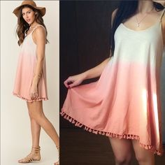"$25 SALEBOHO Ombré Mini Dress with Tassel Trim This adorable BOHO flowy mini dress is so perfect for the spring/summer. It is so soft & amazing quality made of a cotton blend. Approx 30.5"" long. I have S (2-4) M (6-8) L (10-12) these run a little flowy & slightly big, but I think it looks perfect this way. Im a size 2/4 & wearing the small in the picture. Price is absolutely firm unless bundled. You may purchase this listing as I've created individual listings for each size. I have blush…"
