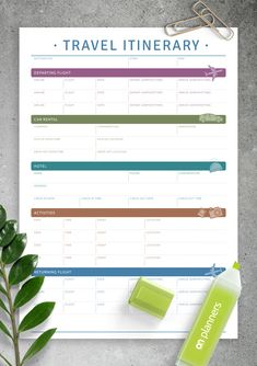 This printable travel itinerary template will be good if you plan to trip by plane, rent a car and stayin hotels. Sections available in this template: Destination, Start/End Departing Flight, Car Rental, Hotel, Activities, Returning Flight Europe Travel Tips, Packing Tips For Travel, Travel Essentials, Europe Packing, Traveling Europe, Backpacking Europe, Packing Lists, Travel Hacks, Itinerary Planner