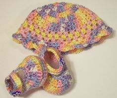 Baby Girl-Gift Set-shoes-hat shaded Pastel Crochet-Made in the USA   barbscrochethut - Children's on ArtFire