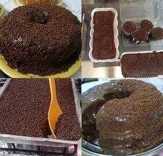 INGREDIENTES PARA A MASSA 3 ovos médios 4 colheres de sopa de margarina derretida 1 e 1/2 xícara de chá de açúcar 2 e 1/2 xícaras de chá de farinha de trigo 1 colher de sopa de fermento em pó 1 xícara de chá de leite 1 xícara de chá de chocolate em pó PARA…