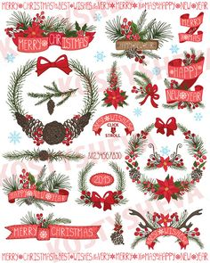 Christmas ,New Year Wreath,ribbons by Tatiana Kost design on Creative Market