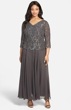 Free shipping and returns on J Kara Beaded Chiffon Gown (Plus Size) at Nordstrom.com. Ready to capture the spotlight at your next big  event, a floaty chiffon gown in a sophisticated grey shade is illuminated with shimmery beading that mirrors the scalloped bodice edge. Front and back V-necklines top the flattering A-line cut.