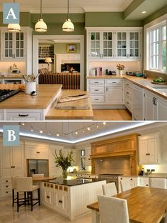 Which Kitchen would you rather have? Top? Bottom? Why? Did you know that we design custom kitchens at Hermitage Lighting Gallery? Check us out!