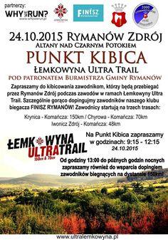 24 października (sobota) od godz. 9.15 zapraszamy do kibicowania zawodnikom, którzy będą przebiegać przez Rymanów Zdrój podczas tegorocznych zawodów Łemkowyna Ultra Trail, szczegóły na plakacie:
