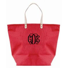 Monogrammed Jute Tote Bag by Muche et Muchette (formerly Murval) - Red