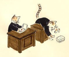 "Kenji Miyazawa ""Cat Office"" Illustration"