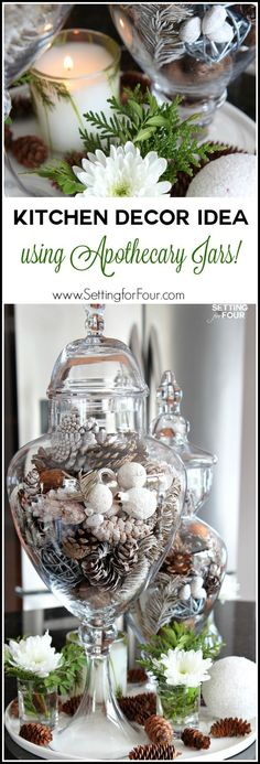 Decorate your kitchen in a jiffy with a beautiful centerpiece using apothecary jars! Apothecary jars filled with seasonal vase fillers are an easy and inexpensive way to add color and accessorize a neutral kitchen.