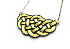 SALE 20% OFF - Big Sailors Knot Nautical Necklace in Yellow and Navy Rattail