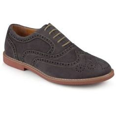 Daxx Men's Lace-up Perforated Wing Tip Faux Suede Oxford Dress Shoes, Size: 10.5, Gray