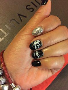 New Years Nails. Inspired by Chanel. #gelnails #chanelnails #naildesign #nailart #blackandwhitenails #glitternails