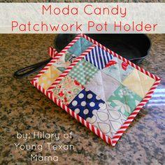 Patchwork Pot HolderTutorial on the Moda Bake Shop. http://www.modabakeshop.com