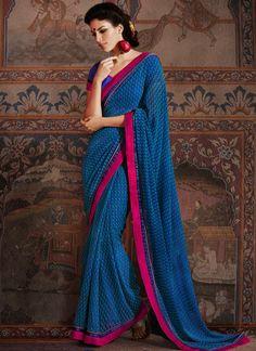 Preppy #Blue #Georgette #Printed Saree
