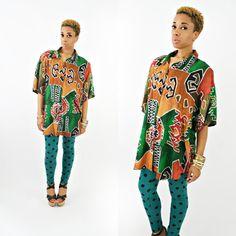 vintage 80s ethnic IKAT tribal oversized shirt-OSFM by PasseNouveauVintage, $26.75