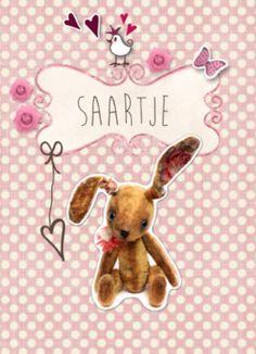 Geboortekaartje vintage knuffel meisje #geboortekaart #geboortekaartje #vintage #konijn #knuffel #knuffelkonijn #meisje #dochtertje #babygirl #roosjes #vogeltje #klassiek #kadertje