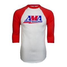 American Motorcyclist Association White/Red Raglan Baseball T-Shirt AMA Racing