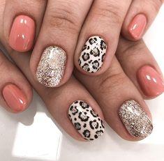 Leopard Nail Designs, Leopard Nail Art, Leopard Print Nails, Coral Nail Art, Coral Nails, Cute Nail Art Designs, Glitter Gel Nails, Cute Acrylic Nails, Nail Manicure