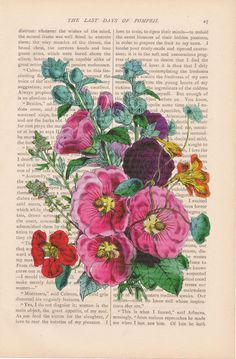 dictionary art vintage eastern HOLLYHOCKS by ExLibrisJournals, $7.00