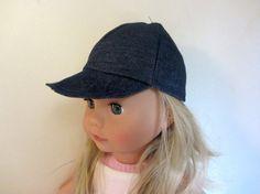 Casquette à visière en jean, doublée coton à fleurs pour poupée Précious Day 46 cm, Götz