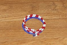 Red White and Blue coil bracelet with USA charm | ENDCrafts - Jewelry on ArtFire