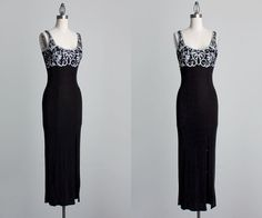Black Maxi Dress 1990s Vintage Black And White Ribbon by decades, $52.00