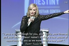 """"""" I pray a breakthrough for you, your family, your finances, and your future in Jesus' name! I declare a new season of opportunity for you as we move into the new year! """" ~ Pastor Paula White, #PaulaWhite,"""