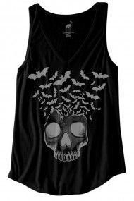 Women's Skull w/ Bats Flying Urban V-Neck Tank Top - Black