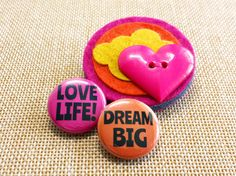 Dream Big Love Life Sunset Brooch by madebylolly on Etsy
