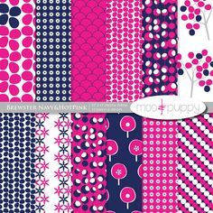 BUY 2 GET 1 FREE:    Brewster Navy - Digital Scrapbook Paper Pack by Moo and Puppy