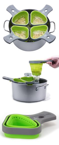 Healthy portions cooking baskets // everyone can have their own pasta! Handy for vegetables too. #kitchen #product_design
