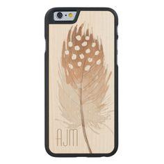 Feather Watercolor Bohemian Tribal Carved® Maple iPhone 6 Case Dec 5 2016 @zazzle #junkydotcom #zazzle #december #2016 #holidays