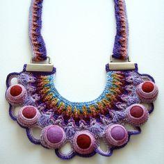 REGIA Statement Necklace crochet freeform felted wool textille art