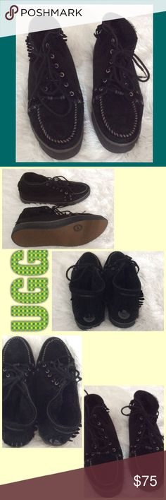 SUEDE BOOTS SUPER COMFY BLACK SUEDE FRINGE UGG TENNIS SHOES UPPERS...FUR INSIDE, LACES , VERY GOOD CONDITION ,,,PLEASE ASK ANY QUESTIONS UPON PURCHASING..GOES TO THE ANKLE .. UGG Shoes Ankle Boots & Booties