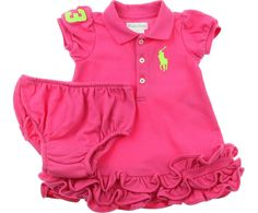 Ralph Lauren Baby Girls Pink Neon Big Pony Polo Dress & Knickers Set