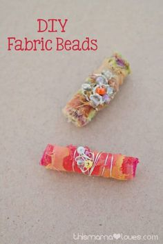 Paper beads, fabric beads, recycled beads DIY Fabric Beads and Homemade Mod Podge - This Mama Loves Diy Fabric Jewellery, Fiber Art Jewelry, Fabric Bracelets, Fabric Necklace, Textile Jewelry, Beaded Bracelets, Necklaces, Fabric Beads, Fabric Scraps