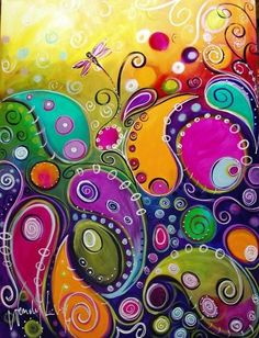 Abstract paisley painting, very colorful, great to hang up in living-room or bedroom. Art Journal Pages, Art Journals, Art Journal Inspiration, Painting Inspiration, Pintura Graffiti, Wal Art, Doodles, Whimsical Art, Doodle Art